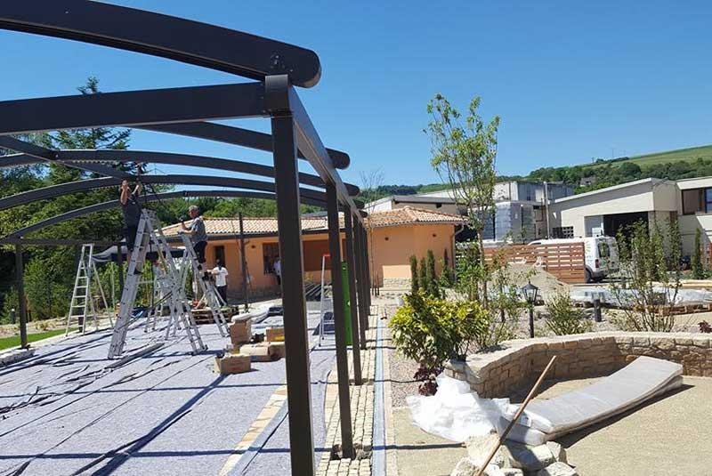 Aufbau Sonnenschutzdach